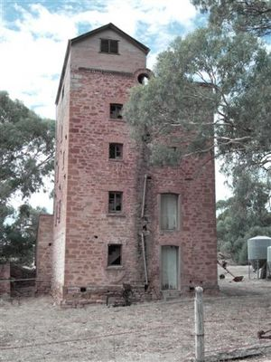 The remains of Jacka's Brewery at Melrose. The Jackas built a small brewery and began brewing in Melrose in 1877. In 1893 they bought Marshall's flour mill and converted it for brewing. The building was gutted in a fire in 1924, was re-instated and brewing continued until 1934 (Photograph Alison Painter).
